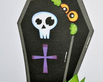 CraftECafe Peeking Coffin, Paper Piecing, Halloween, Die Cut, Embellishment, Scrapbook Layout, Graveyard