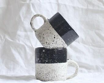 Speckled Mug Black and White Porcelain, Coffee Mug Ready to Ship