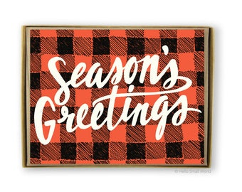 Season's Greetings Box Set, holiday greeting cards, buffalo plaid card, christmas cards