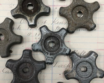 Valve handle small vintage  -  tiny Industrial Valve Handles - Spigot Handles - steampunk faucet knob