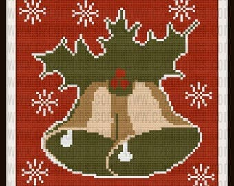 Christmas Bells Afghan, Christmas Bells C2C Graph, Corner to Corner Crochet, Crochet Pattern,  Row by Row Word Chart