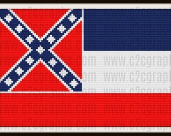 C2C Graph, Mississippi Flag, Afghan, C2C Crochet, Graph, & Written Word Chart, Mississippi Graph, Mississippi C2C