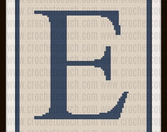 Letter E Twin Afghan, C2C Graph, Written Word Chart