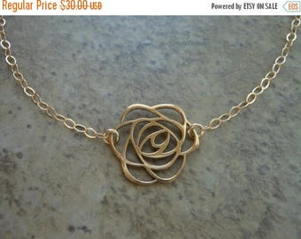 Christmas in July SALE Gold Rose Choker, Short Necklace,Gift for Best Friend, Art Deco Rose,Layering Jewelry, Choker Necklace, Flower Neckla
