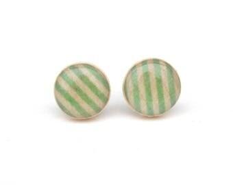 Green Stripe Stud Earrings, Wood Earrings, Hypoallergenic earrings