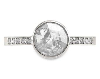 1.4 Carat Salt & Pepper Diamond Jules Engagement Ring, 14k White Gold
