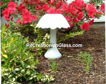 Mushroom. Garden art. White mushroom. Garden totem. Glass totem. White glass.