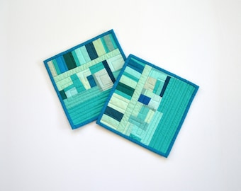 Aqua Potholders, Pot Holders,  Modern Pot Holders, Hostess Gift (set of 2), Aqua Teal Hot Pads, Abstract Table Decor