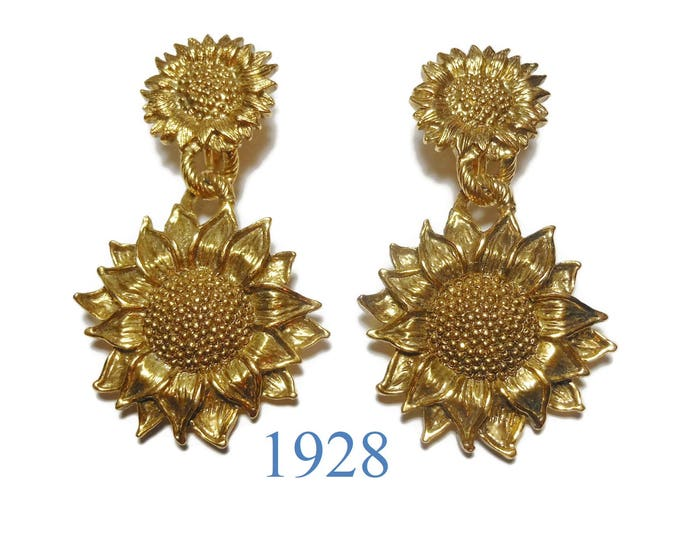 1928 sunflower earrings, 1928 jewelry Company dangle earrings, textured drop clip earrings, unsigned 1928, floral earrings