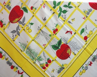 Vintage Garden Party Rectangle Tablecloth Fruits Veggies Yellow and White
