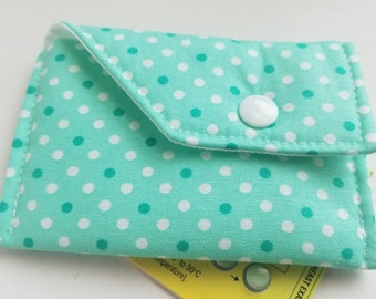 Birth Control Case Sleeve with Snap Closure -Aqua green and dots