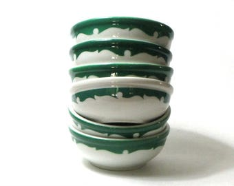 Shenango China Evergreen Chili Bowls Set of Six Cereal Everglade Green Wave 60s's Restaurant Diner Breakfast Lunch Dinner