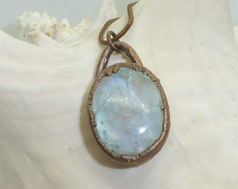 Moonstone, electroformed necklace