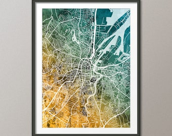 Belfast Map, Belfast Northern Ireland City Map, Art Print (3494)