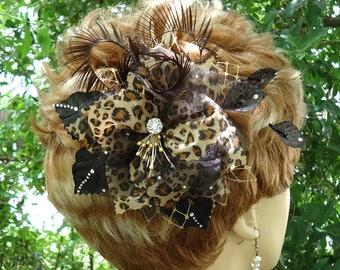 Leopard Fascinator, Wedding Hair Clip, Black Gold Clip, Bridal Hair Clip, REX17381