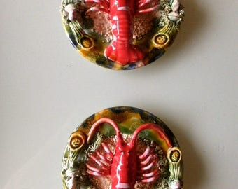 A rare opportunity to purchase a pair of Palissy style wall plates