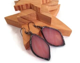 Pink Earrings Stained Glass Earrings Glass Earrings Soldered Jewelry Handmade Jewelry Dangle Drop Earrings Pink Spear Earring Gift for Her