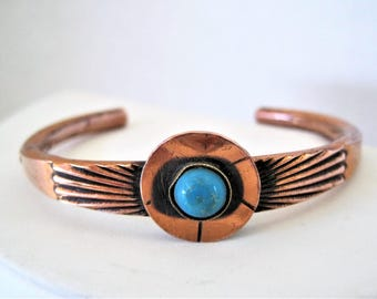 Native American Turquoise Cuff, Small Wrist Copper Bracelet, Turquoise Stone Center, Mid Century