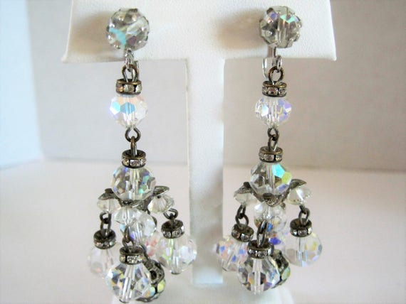 Crystal Earrings - Faceted Chandelier Dangles - Elegant Social Occasion Earrings - Mid Century Crystals
