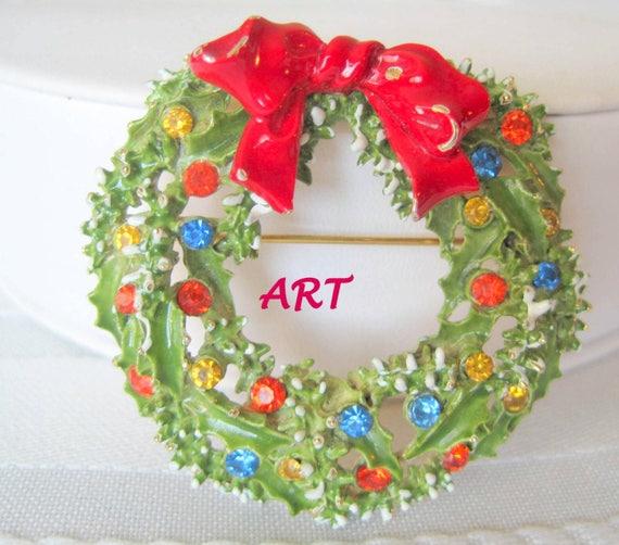 ART Signed Christmas Wreath - Holiday Brooch - Signed ART - Enamel Rhinestones