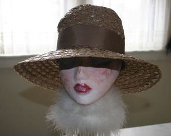 Couture Wide Brim Cocoa Brown Straw Hat Easter Kentucky Derby High Fashion Runway Portrait Hat