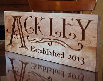 Personalized Last Name Wood Sign, Custom Wedding Sign, Custom Date Sign, Wood Established Sign, Benchmark Custom Signs, Cherry QQ