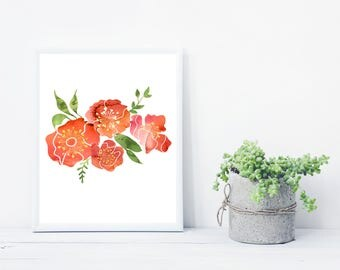 Digital Download Autumn Flowers Watercolor 8x10