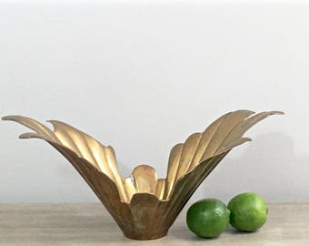 Vintage Brass Bowl Centerpiece Gold Metal Regency Decor