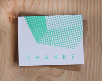 Geometric Thanks, letterpress greeting card