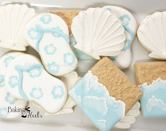 Beach Themed Cookies, Beach Wedding Favors, Flip Flop Cookies, Seashell Cookies, Under the Sea Cookies, Beach Themed Wedding, Beach Shower