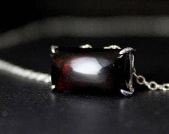 ON SALE Silver Black Opal Necklace - Rectangular Pendant