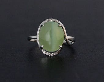 FLASH SALE Contemporary Siberian Nephrite Jade Ring - Halo Setting - 925 Sterling Silver