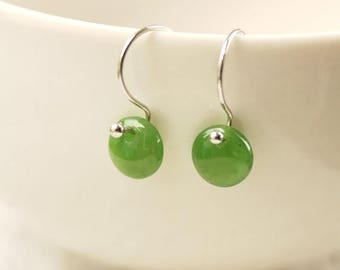 FLASH SALE Round Green Jade Earrings - Green Dots - Sterling Silver
