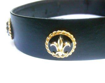 ST JOHN Stylish Black Leather Gilt Medallion Belt