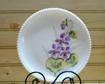Vintage Westmoreland Milk Glass Violet Plate Hobnail Beaded Edge Purple Flowers Floral Home Decor Gift Collectible