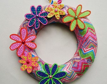 Funky floral wreath