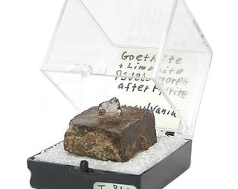 Goethite Pseudomorphing Pyrite Crystal Thumbnail Mineral Specimen mined at Blue Ball, Pennsylvania in the 1980s