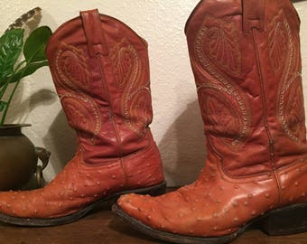 Orange Leather Cowboy Boots - Pigskin Cowboy Boots - Ostrich Pattern Leather - Creme Embroidery - Size Mens 12 US / Europe 46