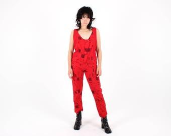Coolest 80s Red Scoop Neck Sleeveless Funky / Kooky Jumpsuit / Onesie / Romper / Overalls / Coveralls