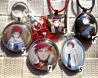 Gaara - Kazekage - HOLO Glass Charm Pendant made from Trading Cards