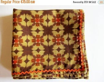 SUMMER SALE - Crazy German Vintage Retro Printed Tablecloth in Iconic Beige Brown Colours and Orange Zig Zag Trim