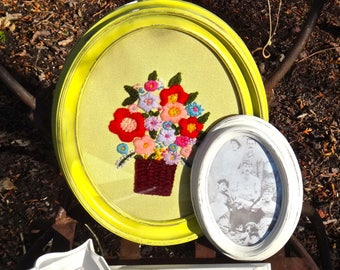 Needlepoint, Yellow Frame, Boho Chic, Cross Stitch, Bohemian, Floral, Embroidery, Funky, Eclectic, Artsy, Bright, Colorful, Flowers, Art