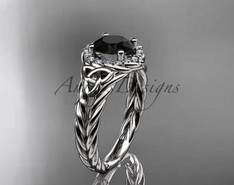 Platinum halo rope celtic triquetra engagement ring with a Black Diamond center stone RPCT9131