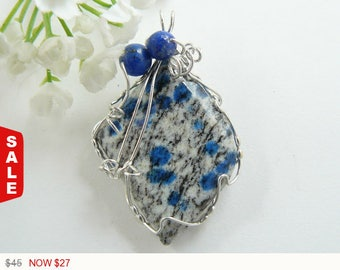 40% OFF Sale - K2 Azurite wire wrapped gemstone cabochon, Argentium silver wire wrapped jewelry pendant, natural gemstone, polished back (w3
