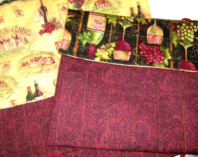 Wine Fabric Quilted Circular Straight Knitting Needles Organizer Roll Set, JDCreativeHands