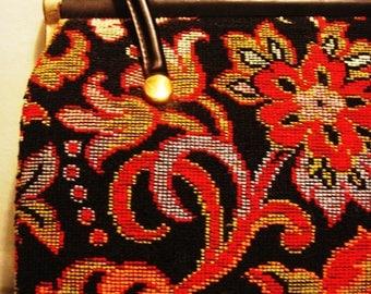 Vintage 1960s Boho Gypsy Black and Red Tapestry Handbag