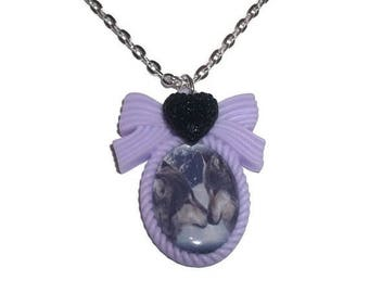 Wolf Cameo Necklace, Lilac Cameo Animal Pastel Jewelry