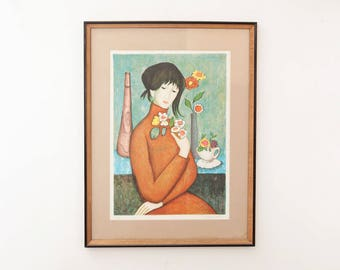 Vintage Signed Numbered Spanish Listed Artist Marie Jesus de Sola Lithograph Print Numbered