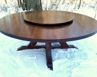 """74"""" Walnut Table with Curvy Base and Lazy Susan"""