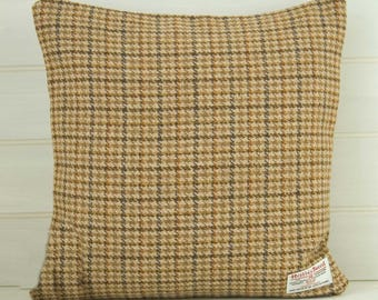 Harris Tweed Cushion Cover Brown Houndstooth  -  size 40cm - 16ins - Country Style - Made in UK